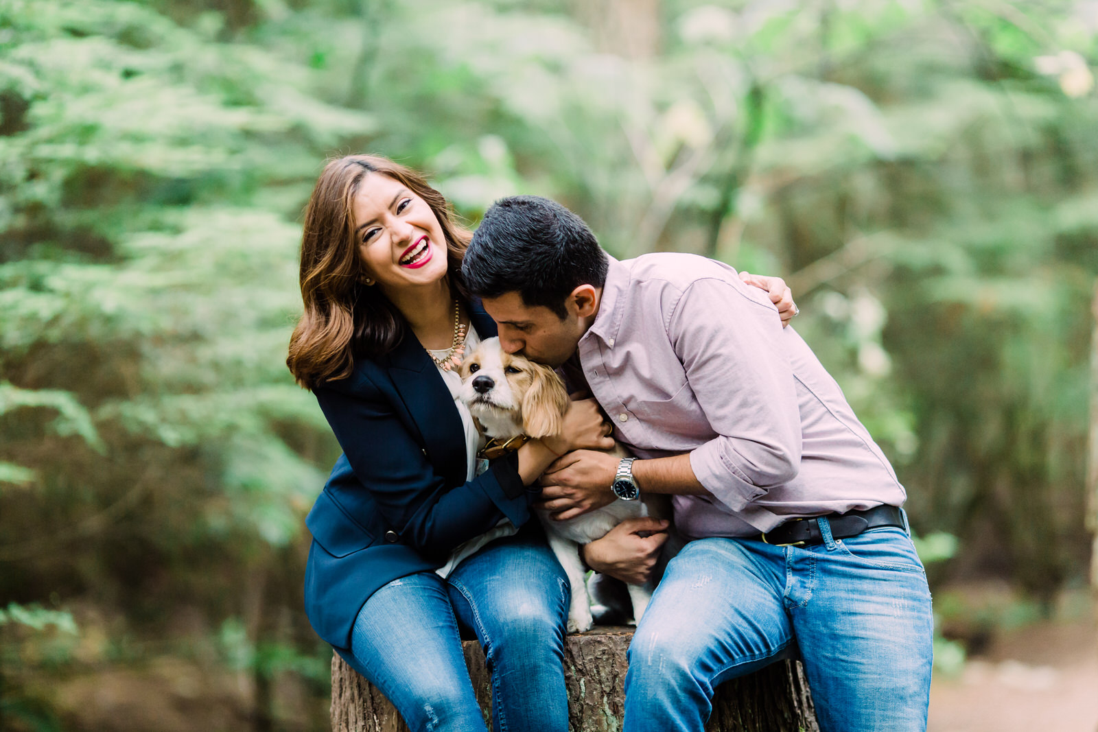 engagement portrait with a puppy