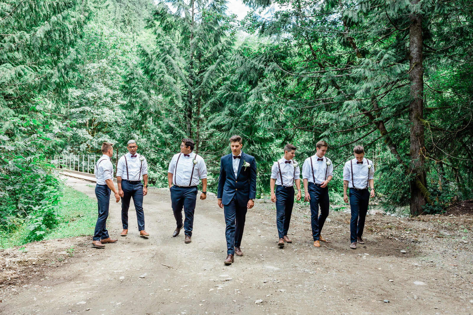 groom & groomsmen in the forest