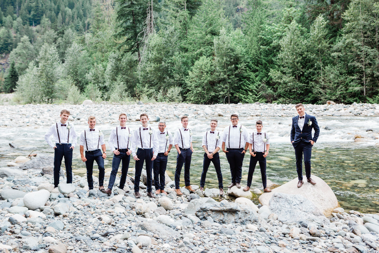 Groomsmen & groom bridal party portraits in nature