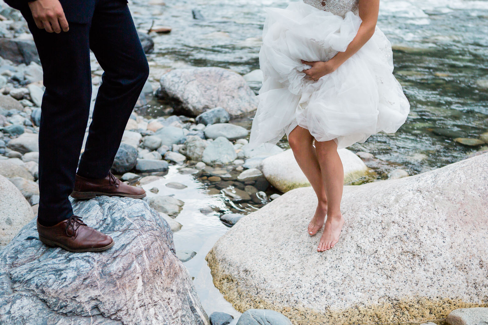 Bride & groom portraits by the river