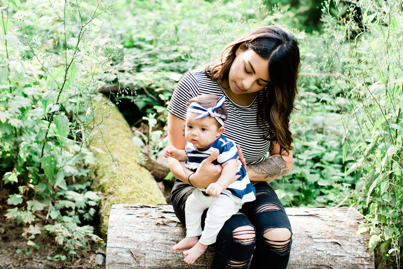 mom and baby in forest, newborn forest session, West Coast photographer