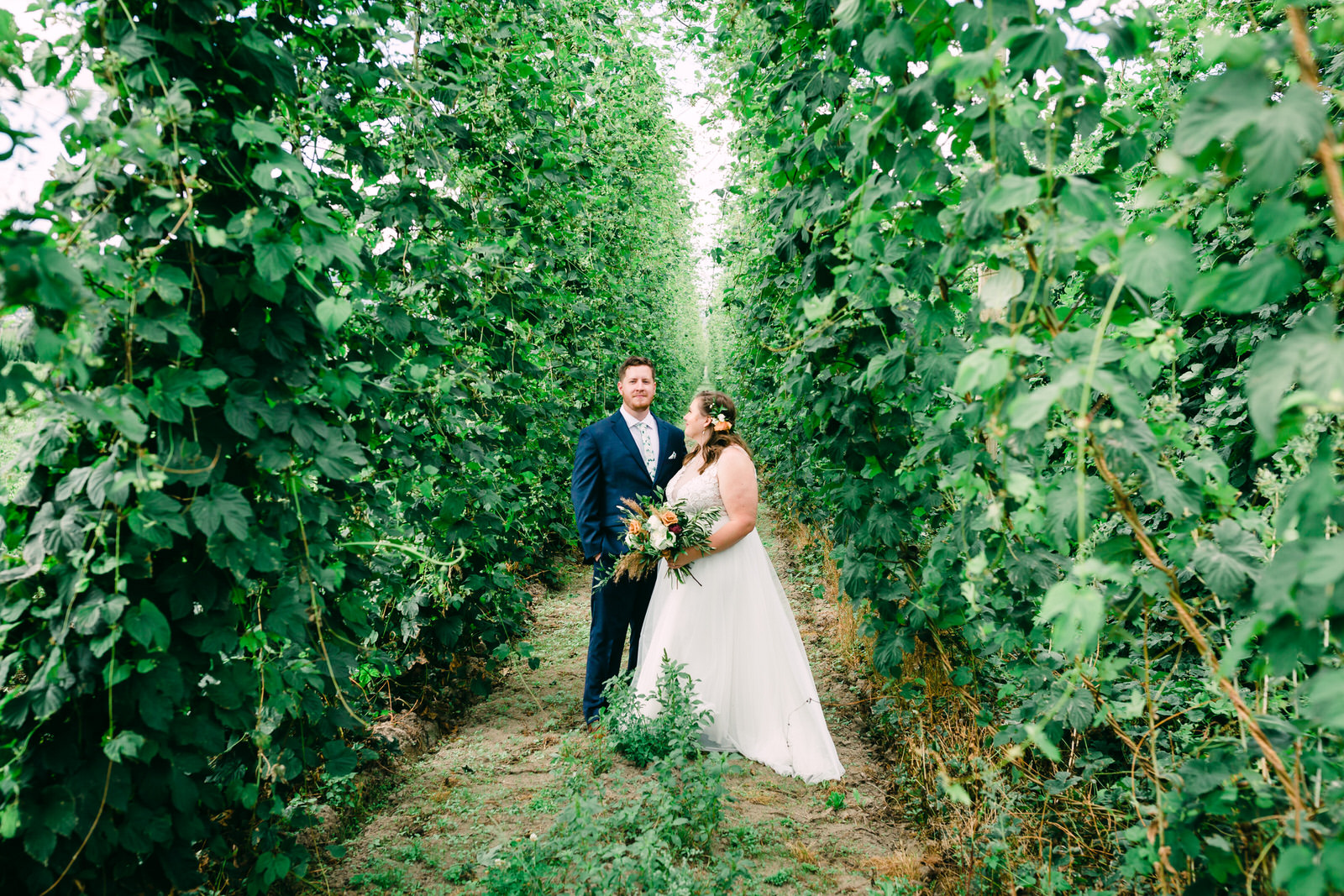 Portrait of a bride & groom in a garden