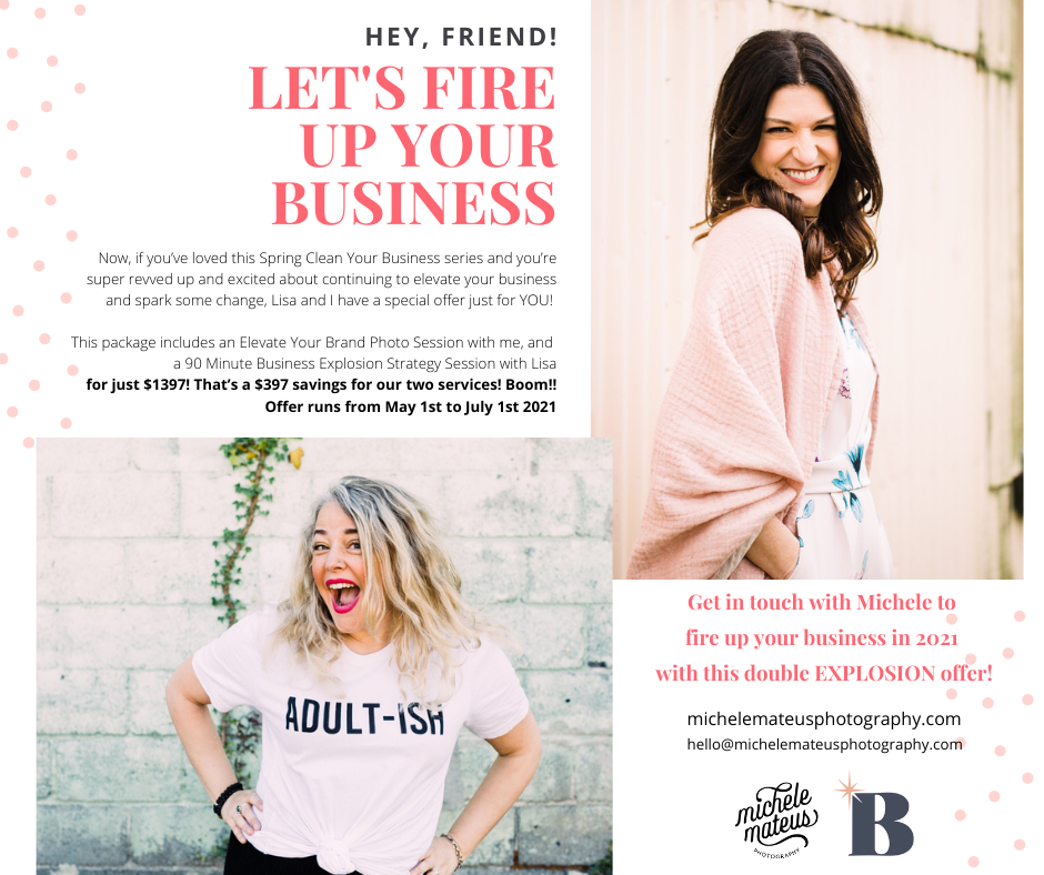 Fire Up Your Business ad featuring branding session with Michele Mateus Photography and coaching call with Business Coach Lisa van Reeuwyk